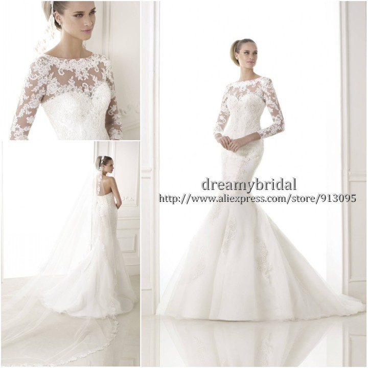 Aliexpress.com : Buy Custom Made 2015 New Fashion Mermaid Long Sleeve Lace Sexy Corset Wedding Gowns Vestido de Noiva Wedding Dresses Free Shipping from Reliable dress up wedding gowns suppliers on Suzhou dreamybridal Co.,LTD