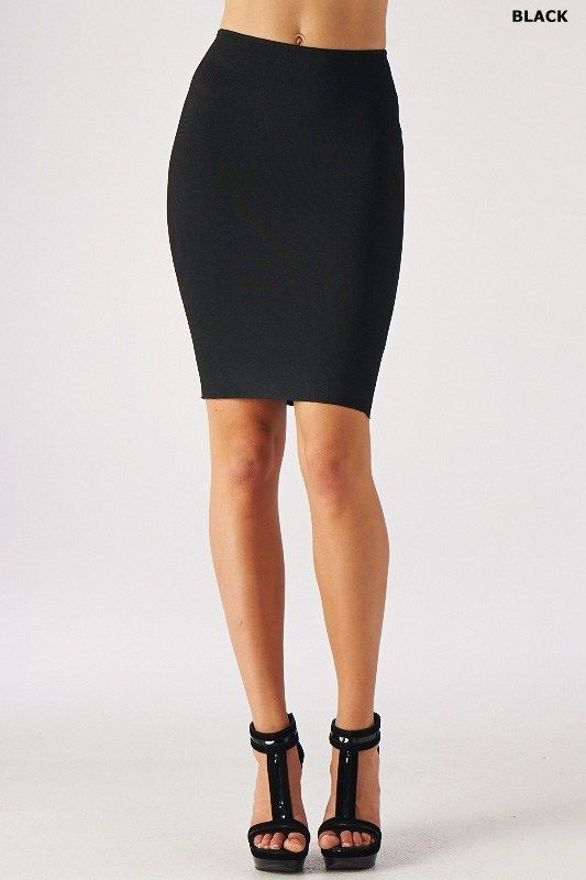 Solid Color Bodycon Slim Tight Fitted High Waisted Knee Length Pencil Skirt