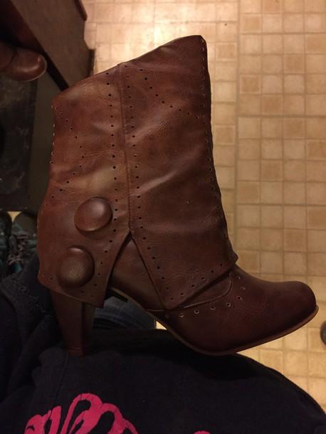shoes brown heel boot