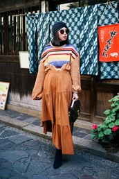 skirt,tumblr,asymmetrical skirt,asymmetrical,rust,maxi skirt,top,sweater,turban,hat,sunglasses,boots,black boots