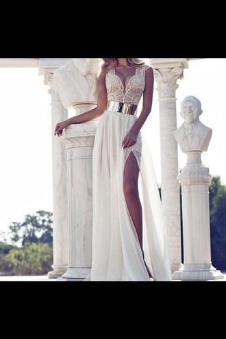 dress lace gold belt long dress