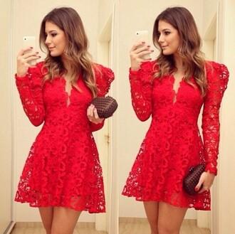 dress lace dress fall dress red dress sleeve dress plunge v neck fall outfits