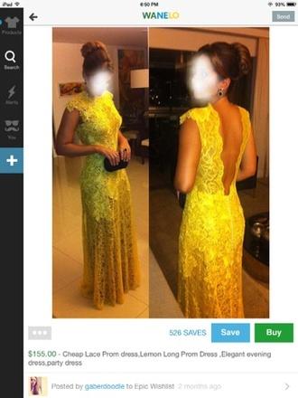 cute dress lace lace dress yellow dress yellow prom dress long prom dress 2014 prom dresses