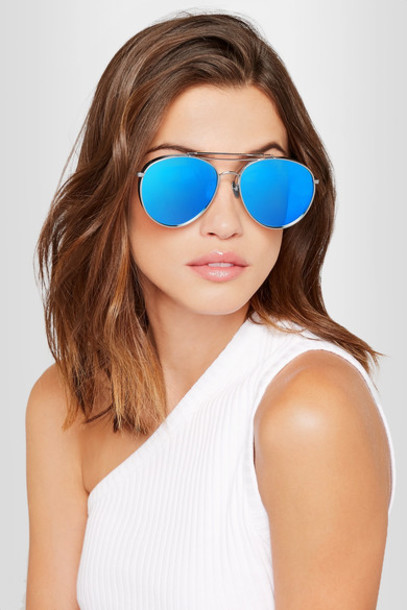 d716049f06b gentle monster Gentle Monster - Big Bully Aviator-style Silver-tone  Mirrored Sunglasses - Blue