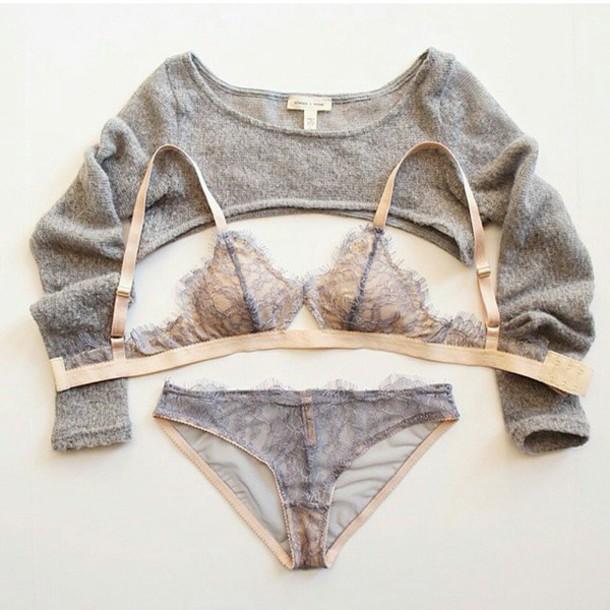 sweater crop tops cropped sweater lingerie bralette panties grey underwear