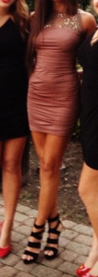 dress bodycon dress pink dress bandage dress sparkled sequins homecoming dress sheer sweetheart neckline