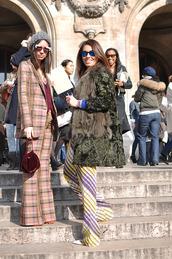coat,tumblr,friends,fur coat,green coat,sunglasses,mirrored sunglasses,beanie,grey beanie,pants,wide-leg pants,tartan,plaid,blazer,printed pants,printed blazer,bag,velvet,red bag,streetstyle
