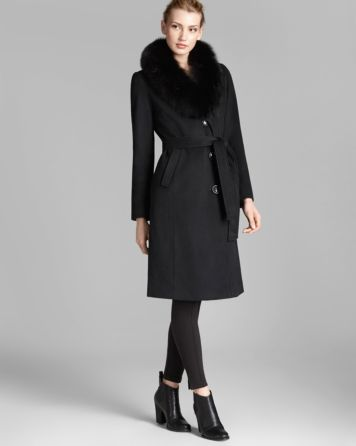 Ellen Tracy Coat - Fox Fur Collar Belted | Bloomingdale's