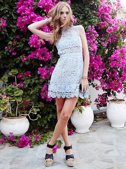 99d32c51e16 Blue Lace Floral Keyhole Back Sleeveless Mini Dress