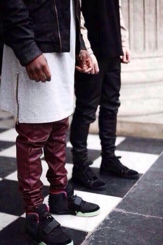 bag shirt oversized pants white jacket shoes dark red grey extended t shirt zip zips luxury t-shirt leather leather pants