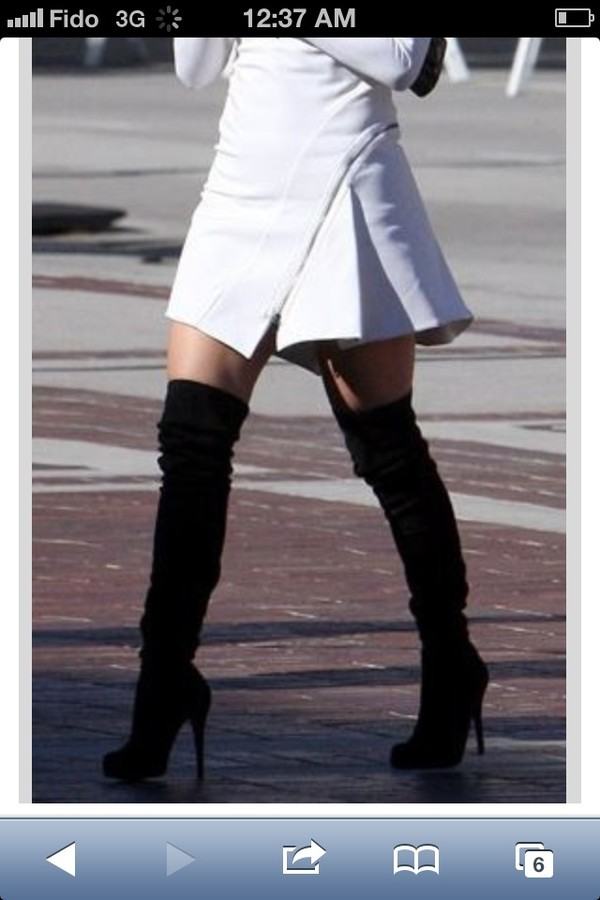 Black Suede Thigh High Heel Boots