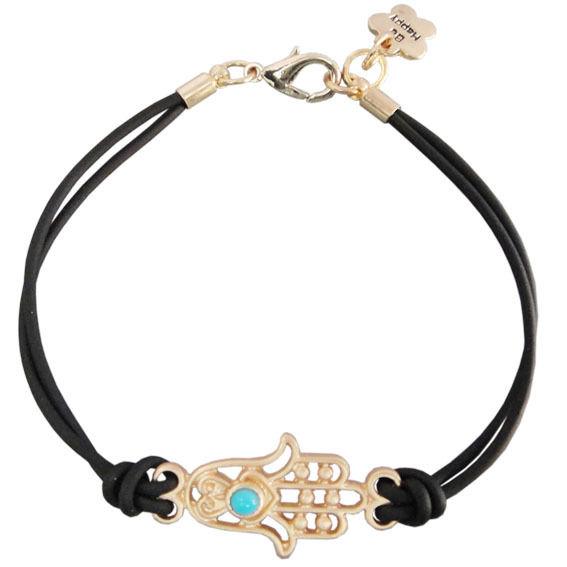 Fashion jewelry charm hamsa hand black rope girls gift bracelet 6.7