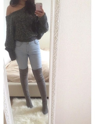 top grey sweater jumper off the shoulder love beautiful jeans thick chic beauty girl knitwear grey sweater