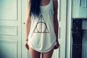 white tank top,triangle,shirt,tank top,jared leto,white,harry potter and the deathly hallows,harry potter,b&w,t-shirt,tumblr,indie,black and white,printed t-shirt,shaved to the side,harry potter tank top,top,longshoreman,pattern,triangle pattern,pattern round,girl,girly
