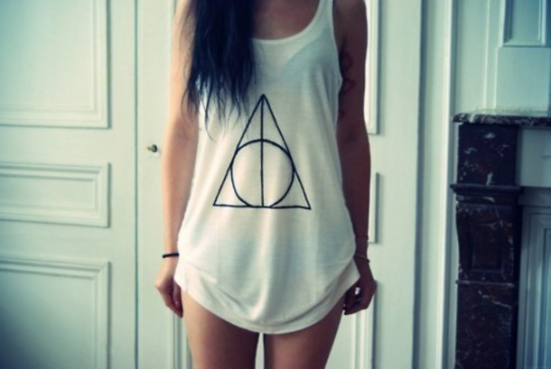 white tank top triangle shirt harry potter and the deathly hallows tank deathly hallows the deathly hallows harry potter tank top b&w white t-shirt longshoreman pattern triangle pattern pattern round girl girly top