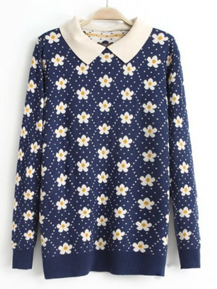 daisy sweater blued dark blue daisy sweater flower sweater blue sweater dots lilac, sweater, daisy, daisies, girl, polarneck, polka dot sweater
