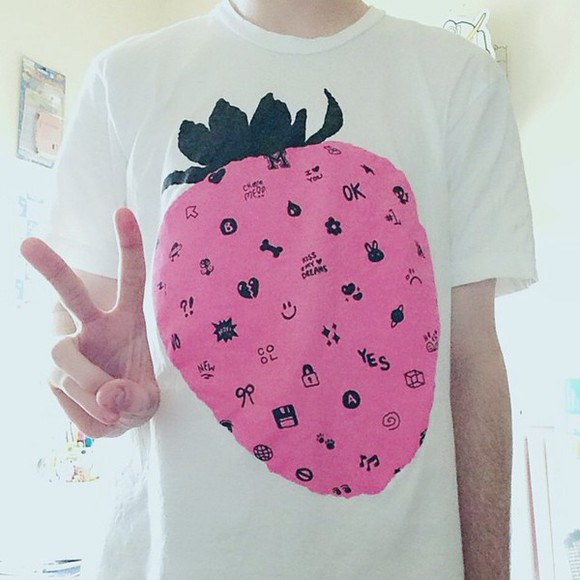 t-shirt white t-shirt top strawberry cool top pink yes smiley face cute kawaii