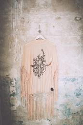 sweater,fringes,cardigan,kimono,shawl,boho,hippie,free people,fringe kimono