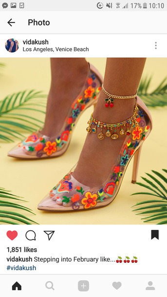 shoes pvc heels pumps funky shoes 70s trend embroidered retro colorful