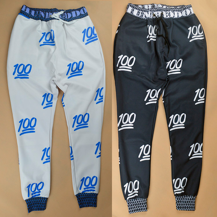 2014 new fashion men/women's sport jogging pants print 100 emoji skinny sweatpants hip hop joggers trousers running gym pants