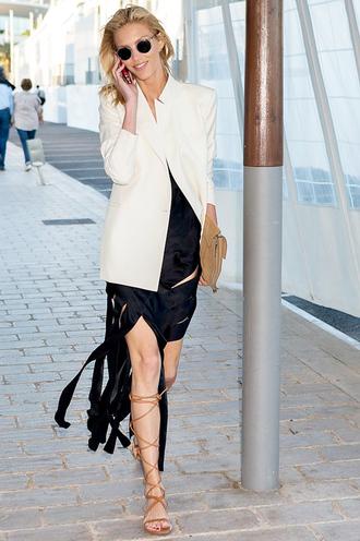 le fashion image blogger sunglasses jacket dress bag