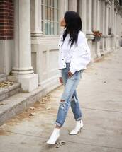 shoes,tumblr,boots,white boots,ankle boots,denim,jeans,blue jeans,ripped jeans,top,white top,jacket,white jacket