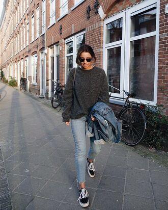 shoes grey oversized sweater ripped jeans denim jacket vans sunglasses blogger