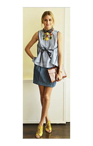 olivia palermo shirt skirt jewels necklace shoes purse bag