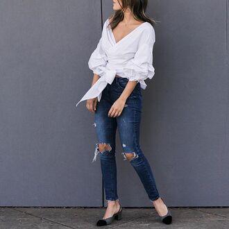blouse white blouse storets off the shoulder