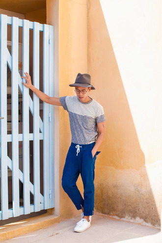 closet freaks blogger hipster menswear menswear mens t-shirt blue pants mens fedora