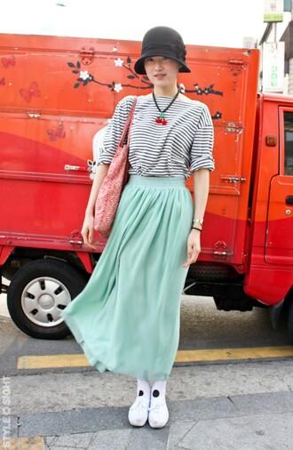 maxi skirt mint blue skirt
