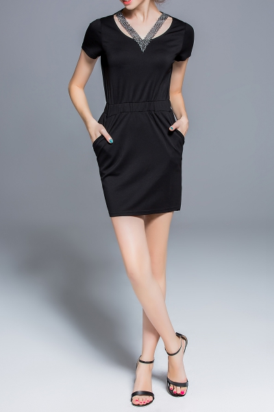 Elastic Waist Pure Color Dress
