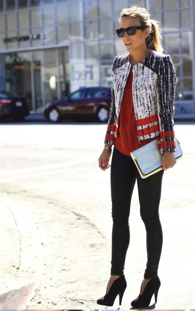 jacket model celebrity new york city red red shirt striped blazer heels blazer shoes silver fashion fall outfits classy