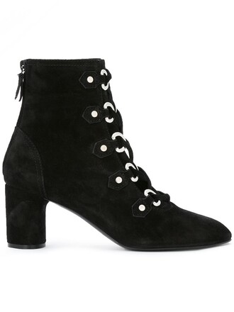 women boots leather suede black eyelet detail shoes