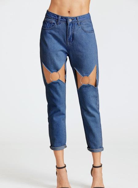 jeans girly blue blue jeans denim cut-out boyfriend jeans mom jeans