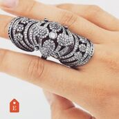 jewels,body kandy couture,armor ring,goth,big ring,diamond ring,cubic zirconia ring,hinge ring,joint ring,knuckle ring,double knuckle ring,boho jewelry,finger ring,trendy ring,silver ring,statement ring,boho,boho chic,vintage style ring,jewelry rings