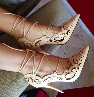 nude high heels white high heels lace up