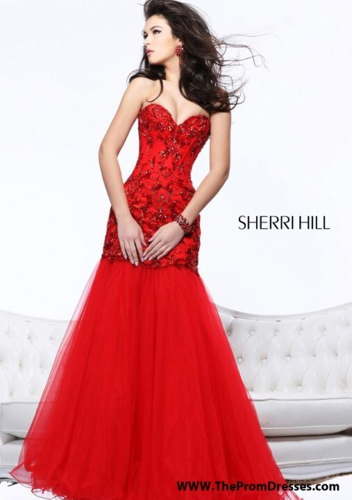 Sherri hill prom dress prom gown red size 4 mermaid style