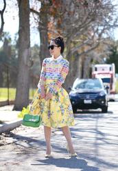 hallie daily,blogger,blouse,retro,midi skirt,yellow skirt,colorful,floral skirt,skirt,shoes,bag,t-shirt,sunglasses,floral midi skirt,midi floral skirt