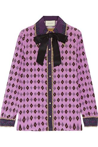 shirt bow embellished silk lavender top