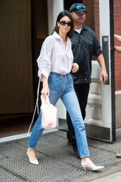 blouse,shirt,jeans,denim,pumps,kendall jenner,kardashians,streetstyle,model off-duty,top,shoes,bag