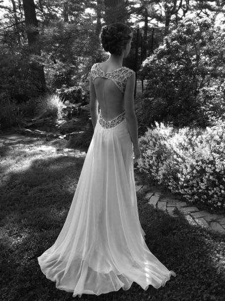 Elegant Wedding Dress Open Back : Gown prom open back wedding dress long elegant maxi