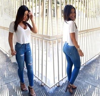 t-shirt jeans shoes crop shirt white shirt