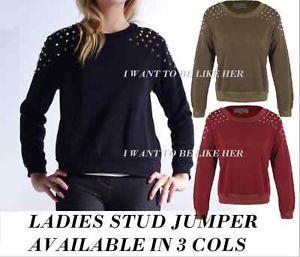 New Womens Stud Spike Sweater Jumper Studded Top Drop Shoulder Pullover Skeleton | eBay