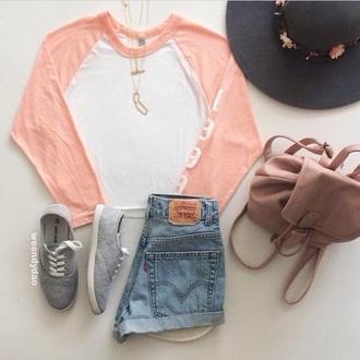 top orange white cute shorts denim backpack bag hat