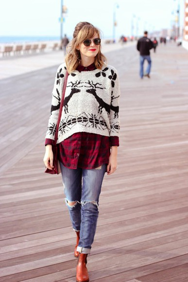 deer blouse christmas sweater blogger steffy's pros and cons round sunglasses satchel bag ripped jeans flannel shirt