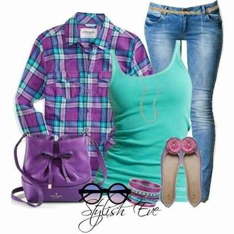 blouse purple plaid top