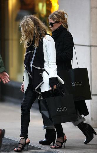 shoes mesh black net sandals ashley olsen mary kate olsen olsen sisters jacket