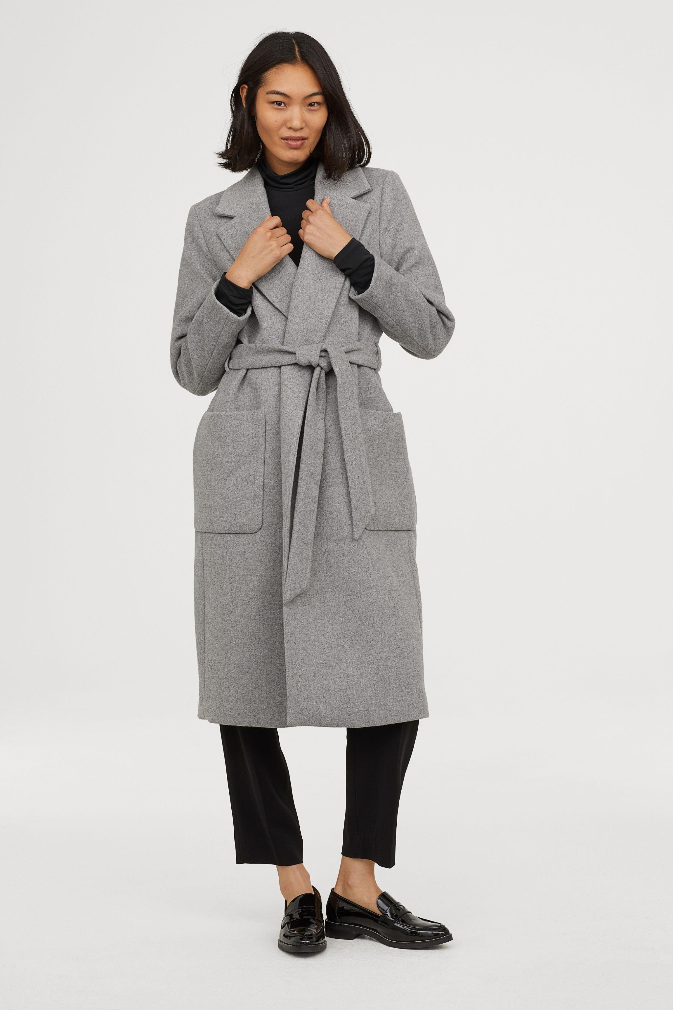 Coat with a tie belt - Light grey - Ladies   H&M GB
