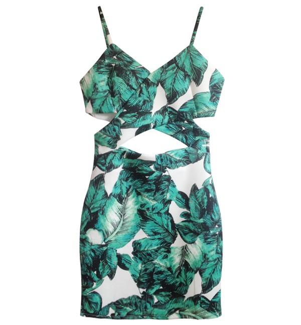 Cutout Mini Dress In Leaf Print